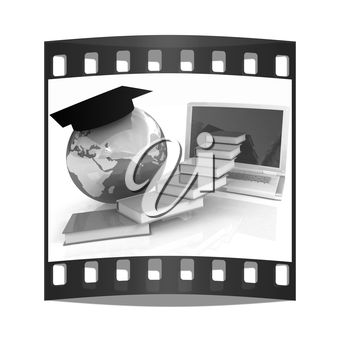 Global On line Education on a white background. The film strip