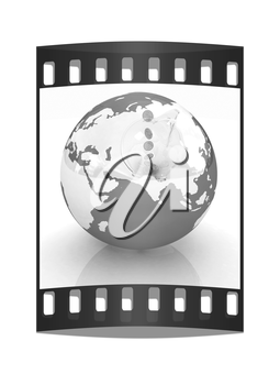Global Banking concept. On white background. The film strip
