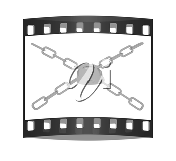gold chains and padlock on white background - 3d illustration on a white background. The film strip