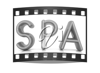 Spa 3d text on a white background. The film strip