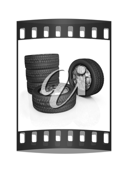 car wheel illustration on white background. The film strip