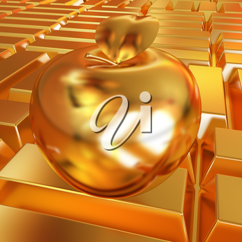golden apple on the gold bars background