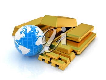 Earth and gold bars