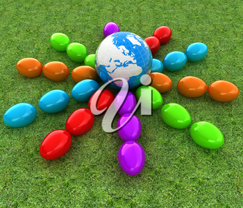 Colored Easter eggs around Earth on a green grass