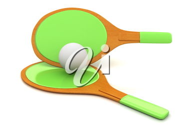Rackets for playing table tennis. 3D rendering