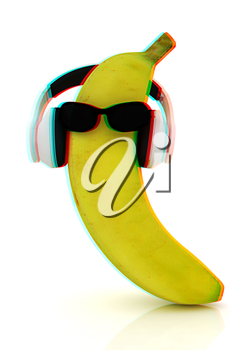 banana with sun glass and headphones front face on a white background. 3D illustration. Anaglyph. View with red/cyan glasses to see in 3D.