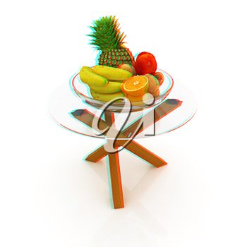 Citrus in a glass dish on exotic glass table with wooden legs on a white background. 3D illustration. Anaglyph. View with red/cyan glasses to see in 3D.