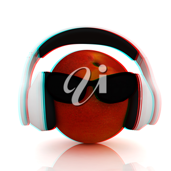 fresh peaches with sun glass and headphones front face on a white background. 3D illustration. Anaglyph. View with red/cyan glasses to see in 3D.