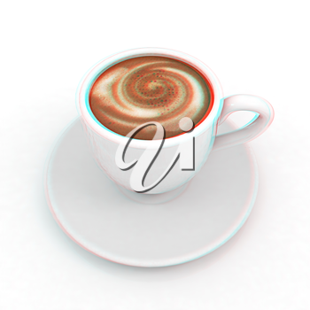 mug on a white background. Anaglyph. View with red/cyan glasses to see in 3D. 3D illustration