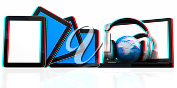 headphones and  earth on the  laptop and tablet pc on a white background. 3D illustration. Anaglyph. View with red/cyan glasses to see in 3D.