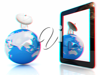 The concept of mobile high-speed Internet and planet earth on a white background. 3D illustration. Anaglyph. View with red/cyan glasses to see in 3D.