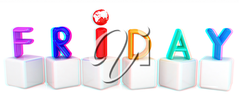 Colorful 3d letters Friday on white cubes on a white background. 3D illustration. Anaglyph. View with red/cyan glasses to see in 3D.