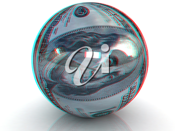Sphere from  dollar. Anaglyph. View with red/cyan glasses to see in 3D. 3D illustration