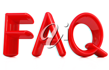 FAQ 3d red text on a white background. 3D illustration. Anaglyph. View with red/cyan glasses to see in 3D.