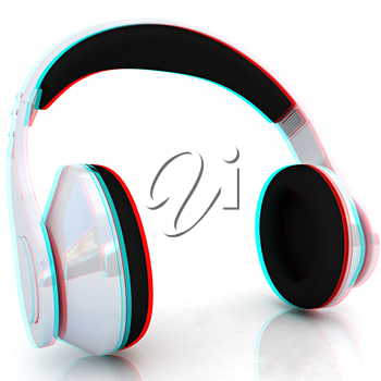 headphones on a white background. Anaglyph. View with red/cyan glasses to see in 3D. 3D illustration