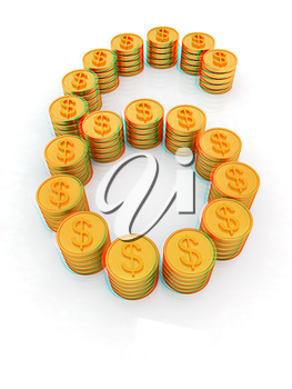 the number six of gold coins with dollar sign on a white background. 3D illustration. Anaglyph. View with red/cyan glasses to see in 3D.