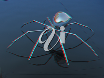 Chrome spider on a white background. 3D illustration. Anaglyph. View with red/cyan glasses to see in 3D.