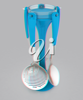 cutlery on a light gray background. 3D illustration. Anaglyph. View with red/cyan glasses to see in 3D.