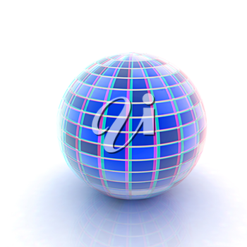 abstract 3d sphere with blue mosaic design on a white background. 3D illustration. Anaglyph. View with red/cyan glasses to see in 3D.