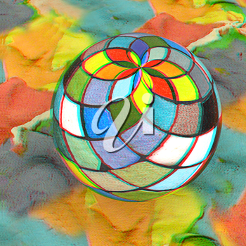 Mosaic ball on a colorful background. 3D illustration. Anaglyph. View with red/cyan glasses to see in 3D.