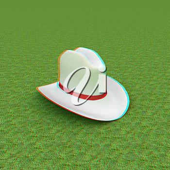 White hat with a red ribbon on a green grass background. 3d. 3D illustration. Anaglyph. View with red/cyan glasses to see in 3D.