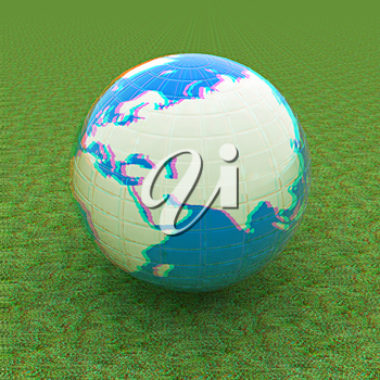 Earth on green grass. Abstract 3d illustration. 3D illustration. Anaglyph. View with red/cyan glasses to see in 3D.