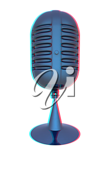 blue metal microphone on a white background. 3D illustration. Anaglyph. View with red/cyan glasses to see in 3D.
