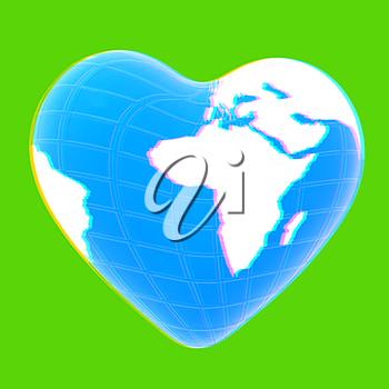 3d earth to heart symbol on a green background. 3D illustration. Anaglyph. View with red/cyan glasses to see in 3D.