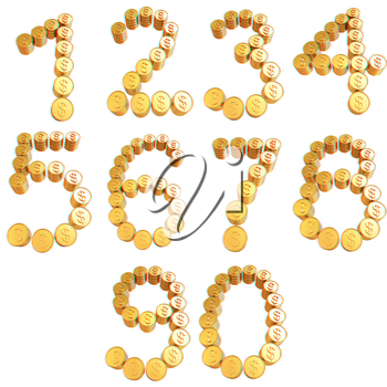 Numbers of gold coins with dollar sign isolated on white background. 3D illustration. Anaglyph. View with red/cyan glasses to see in 3D.