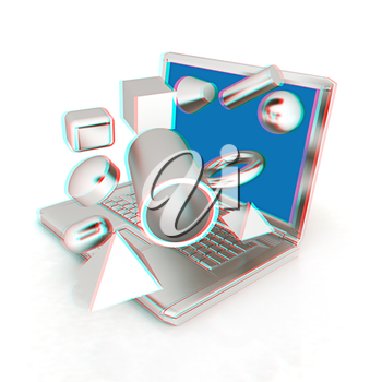 Powerful laptop specially for 3d graphics and software on a white background. 3D illustration. Anaglyph. View with red/cyan glasses to see in 3D.