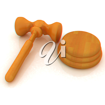 Wooden gavel isolated on white background. 3D illustration. Anaglyph. View with red/cyan glasses to see in 3D.