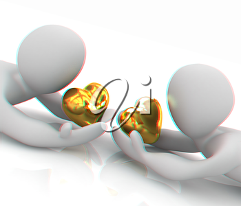3D humans lying and holds heart. 3D illustration. Anaglyph. View with red/cyan glasses to see in 3D.