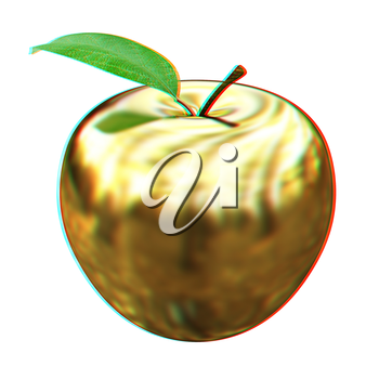 Gold apple isolated on white background. Series: Golden apple under different environments. 3D illustration. Anaglyph. View with red/cyan glasses to see in 3D.
