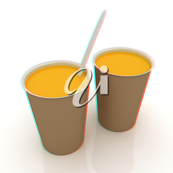 Orange juice in a fast food dishes. 3D illustration. Anaglyph. View with red/cyan glasses to see in 3D.