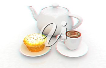 Appetizing pie and cup of coffee on a white background. 3D illustration. Anaglyph. View with red/cyan glasses to see in 3D.