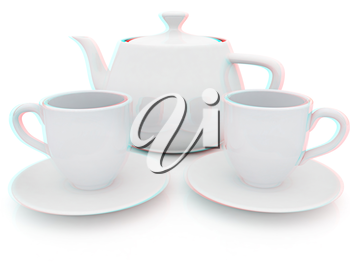 3d cups and teapot on a white background. 3D illustration. Anaglyph. View with red/cyan glasses to see in 3D.