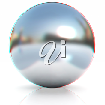 Chrome Ball 3d render on a white background. 3D illustration. Anaglyph. View with red/cyan glasses to see in 3D.