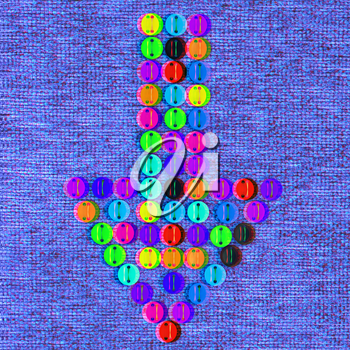 colorful real button arrow sewn to the cloth. 3D illustration. Anaglyph. View with red/cyan glasses to see in 3D.