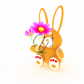 soft toy hare with a little red hearts on white paws and cosmos flower on a white background. 3D illustration. Anaglyph. View with red/cyan glasses to see in 3D.