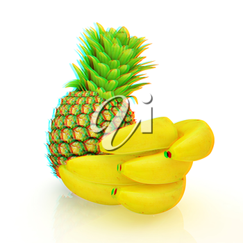 pineapple and bananas on a white background. 3D illustration. Anaglyph. View with red/cyan glasses to see in 3D.