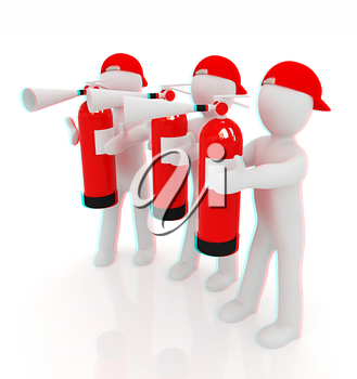 3d mans with red fire extinguisher on a white background. 3D illustration. Anaglyph. View with red/cyan glasses to see in 3D.