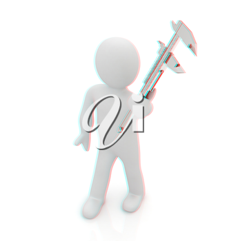 3d man with vernier caliper on a white background. 3D illustration. Anaglyph. View with red/cyan glasses to see in 3D.