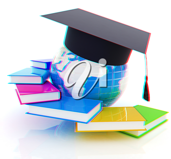 Global Education. 3D illustration. Anaglyph. View with red/cyan glasses to see in 3D.