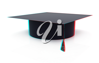 Graduation hat on a white background. 3D illustration. Anaglyph. View with red/cyan glasses to see in 3D.
