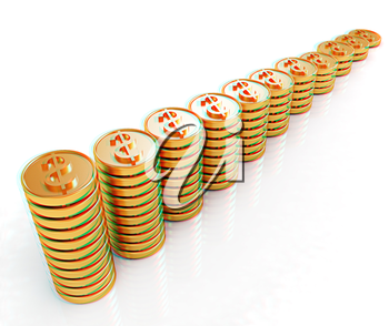 Gold dollar coin stack isolated on white . 3D illustration. Anaglyph. View with red/cyan glasses to see in 3D.