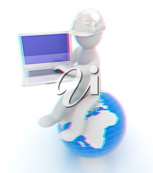 3d man in a hard hat sitting on earth and working at his laptop on a white background. 3D illustration. Anaglyph. View with red/cyan glasses to see in 3D.