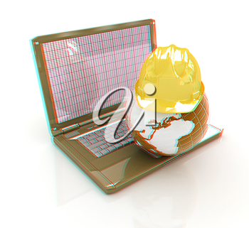 Hard hat and earth on a laptop on a white background. 3D illustration. Anaglyph. View with red/cyan glasses to see in 3D.