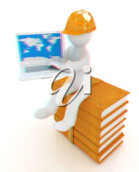 3d man in hard hat sitting on books and working at his laptop on a white background. 3D illustration. Anaglyph. View with red/cyan glasses to see in 3D.