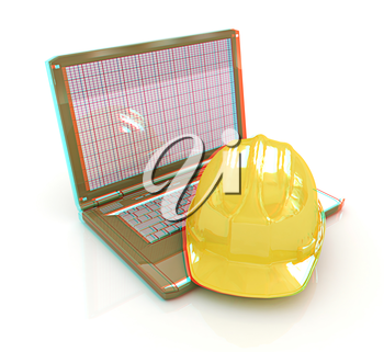 Technical engineer concept on a white background. 3D illustration. Anaglyph. View with red/cyan glasses to see in 3D.