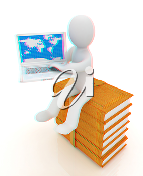 3d man sitting on books and working at his laptop on a white background. 3D illustration. Anaglyph. View with red/cyan glasses to see in 3D.